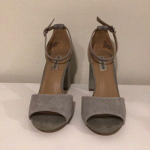 21a50c8d23e Steve Madden Shoes - Gray Suede Steve Madden Mirna Chunky Heels
